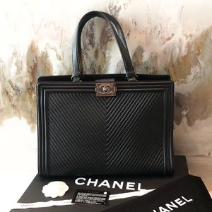 Chanel Black Chevron Distressed Boy Tote Bag